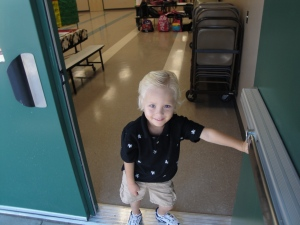 Beckett, opening the door on his first day of school even in 2009. Opening a new door worked well for him ...